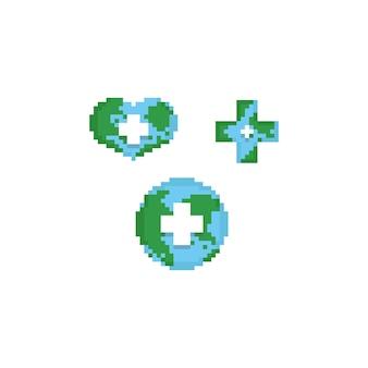 Pixel terra con croce bianca su di esso.