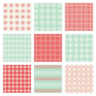 Pixelated snowflake vector seamless pattern pack