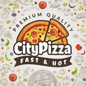 Pizza alimentare sullo sfondo. logotipo di pizzeria colorata menu cucina italiana per modello di poster