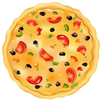 Pizza appena sfornata con pomodoro, oliva e pepe, su bianco