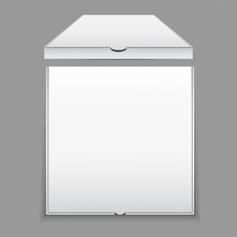 Pizza box mockup in bianco
