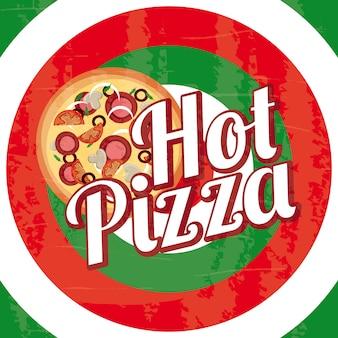 Pizza calda sopra l'illustrazione di vettore del fondo dei cerchi