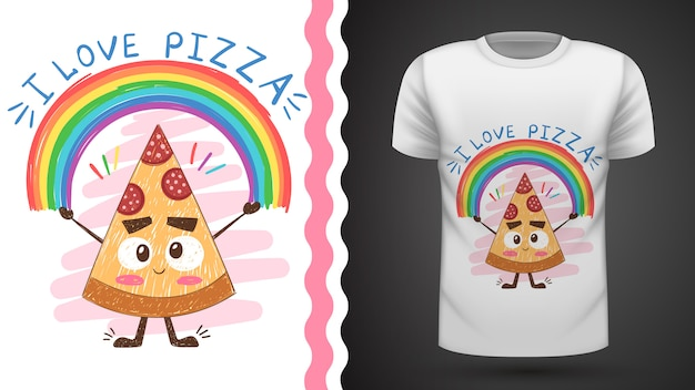 Pizza carina - idea per t-shirt stampata