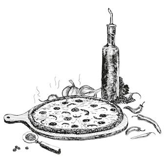 Pizza con bottiglia di aglio olio di disegno