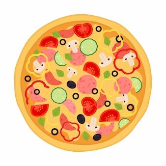 Pizza con carne, peperoni, pomodoro, peperone, cetriolo, funghi, olive, basilico.