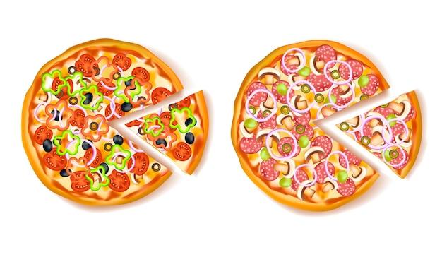 Pizza con composizione fetta
