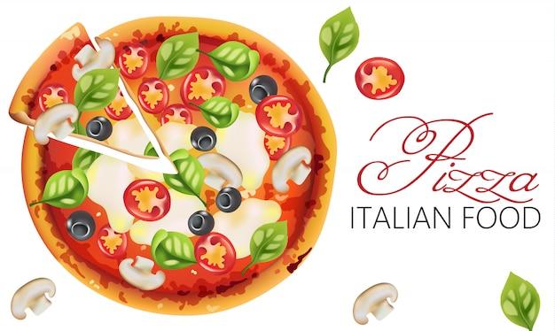 Pizza con foglie di basilico, pomodori, salsa, mozzarella, funghi e olive nere