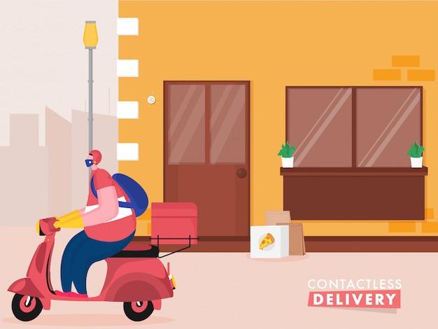Pizza courier man riding scooter con mettere il pacco alla porta per la consegna senza contatto durante il coronavirus.