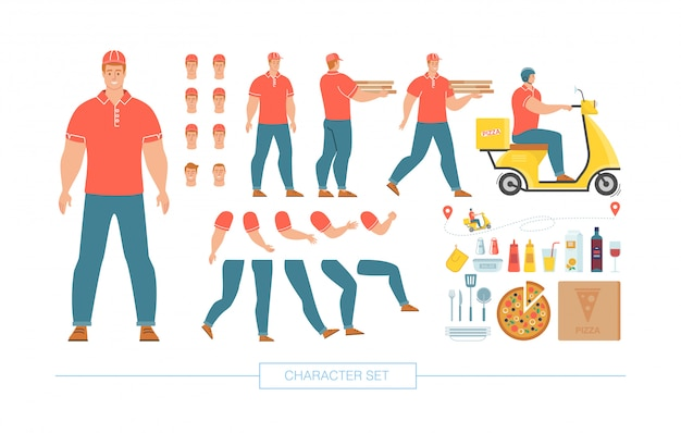 Pizza deliveryman character constructor vector