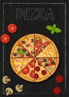 Pizza ed ingredienti per pizza su fondo nero di legno. menù pizza flyer. oggetto per imballaggio, pubblicità, menu.