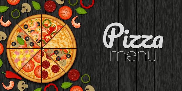 Pizza ed ingredienti per pizza su fondo nero di legno. menù pizza oggetto per imballaggio, pubblicità, menu.