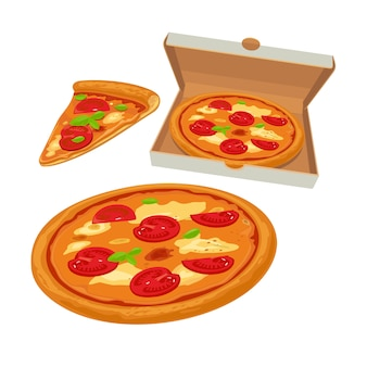 Pizza intera margherita in scatola bianca aperta e fetta
