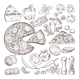 Pizza italiana con ingredienti diversi. set di doodle vettoriale