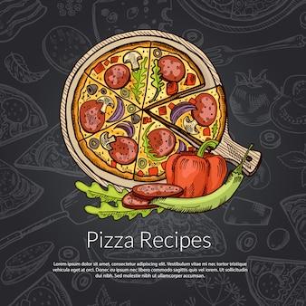 Pizza italiana deliziosa con salame