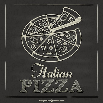 Pizza italiana vettoriale lavagna
