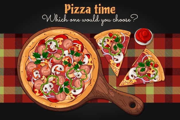 Pizza su una tavola.