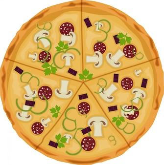 Pizza su uno sfondo bianco