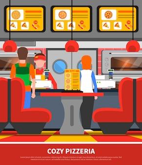 Pizzeria interior illustration