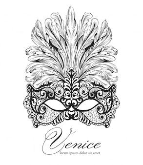 Pizzo maschera veneziana e piume