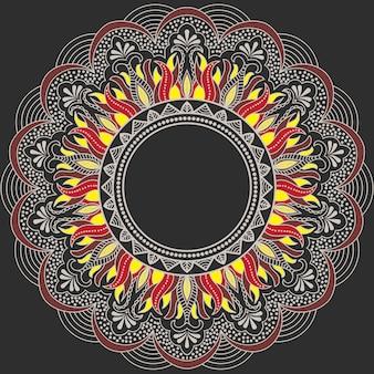Pizzo rotondo ornamentale con elementi damascati e arabeschi. stile mehndi.