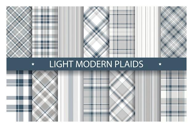 Plaid pattern ornato senza soluzione di continuità. impostare lo sfondo di colore chiaro. collezione di tessuti.