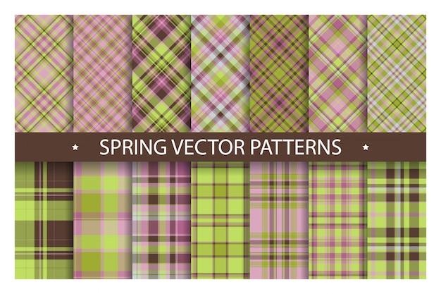 Plaid pattern ornato senza soluzione di continuità. impostare lo sfondo vettoriale di primavera. collezione di tessuti.