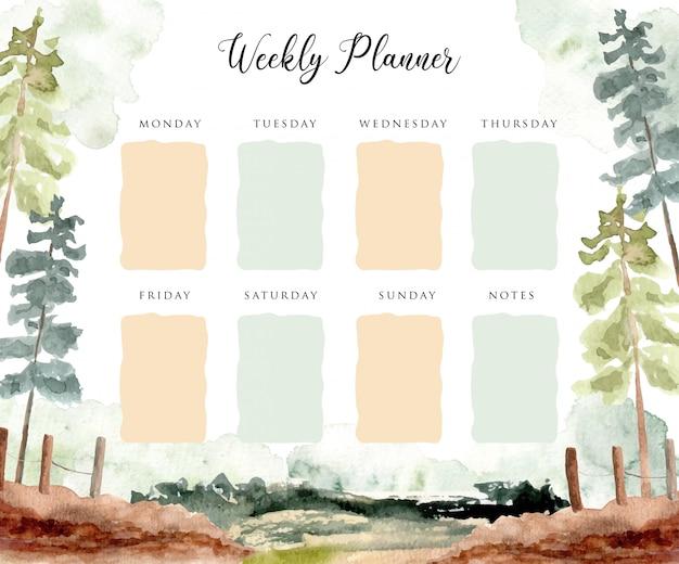 Planner settimanale con sfondo paesaggio scena acquerello