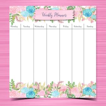 Planner settimanale floreale dell'acquerello con splendidi fiori