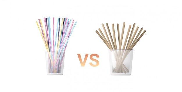 Plastica bevente variopinta contro le paglie eliminabili di carta in orizzontale bianco piano del fondo di concetto zero dei rifiuti di vetro