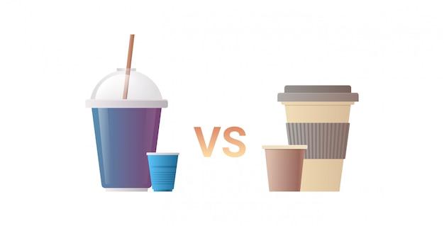 Plastica usa e getta vs bicchieri di carta per bevande zero rifiuti concetto piatto bianco orizzontale sfondo