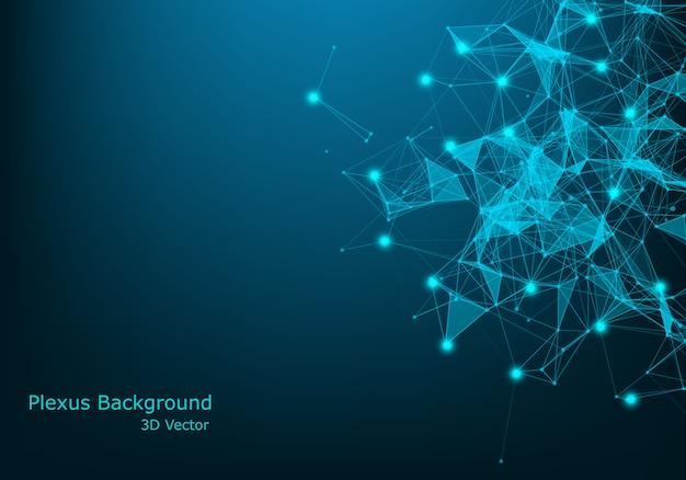 Plesso astratto con linee e punti collegati. effetto geometrico del plesso. big data complex con composti. linee di plesso, matrice minima. visualizzazione dei dati digitali