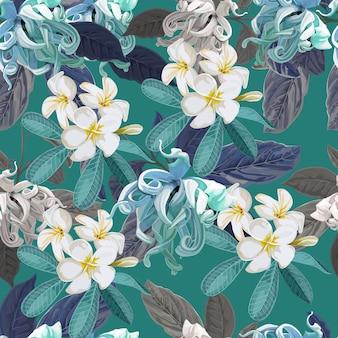 Plumeria e cananga fioriscono il modello senza cuciture sulla porpora