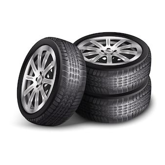 Pneumatici per auto nuove di vettore, ruote con cerchi in lega. isolato su sfondo bianco