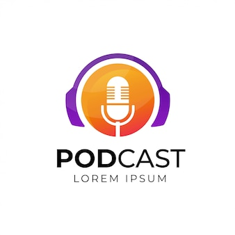 Podcast o radio logo design utilizzando l'icona microfono e cuffia