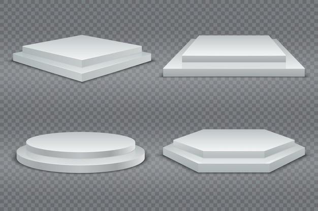 Podi bianchi. podio vuoto 3d rotondo e quadrato con passaggi. piedistalli per showroom, piattaforma da palco