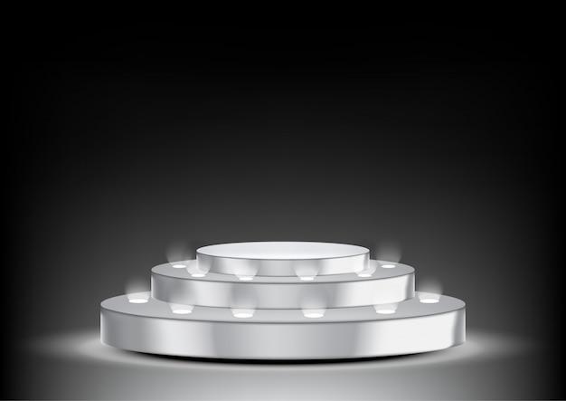 Podio 3d realistico metallico con spotlight