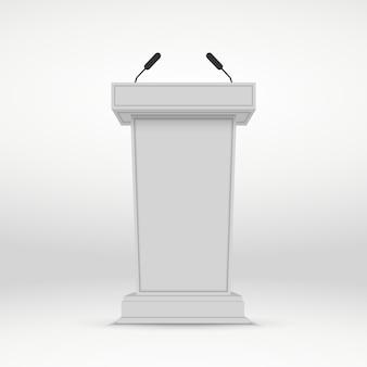 Podio altoparlante. tribuna bianca tribuna stand con microfoni.