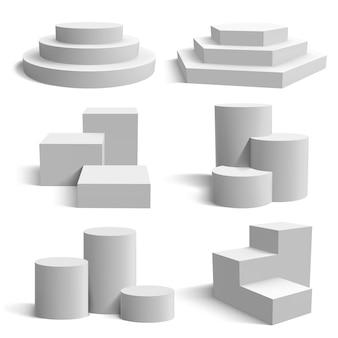 Podio bianco cilindro realistico del piedistallo e fasi rotonde del supporto, insieme geometrico dell'illustrazione della piattaforma di presentazione 3d. piattaforma da palco per presentazione, base geometrica realistica