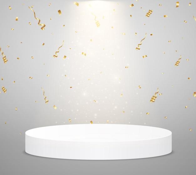Podio bianco con riflettori e coriandoli. scena per la cerimonia di premiazione. concetto di vincitore