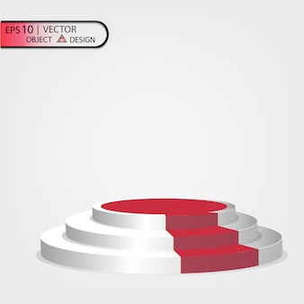 Podio bianco multilivello con un percorso rosso.