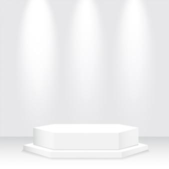 Podio bianco, piedistallo, piattaforma, riflettore