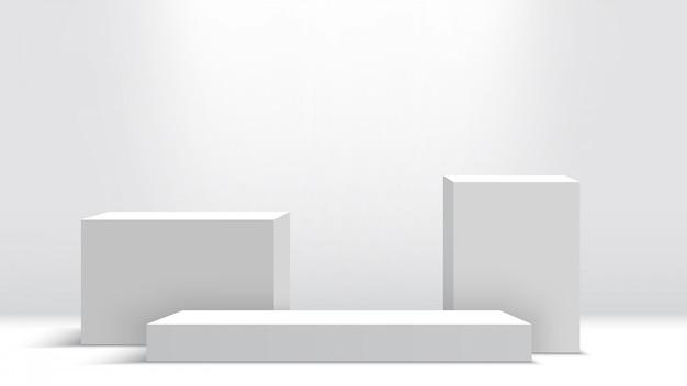 Podio bianco. piedistallo. scena. scatole. illustrazione.