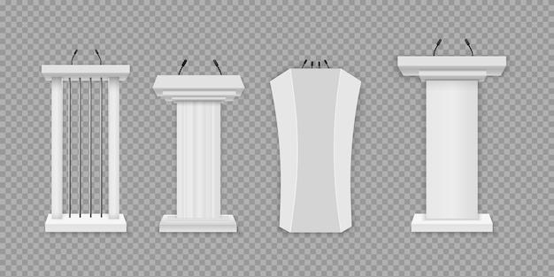 Podio bianco, tribuna con microfoni. illustrazione creativa di una tribuna del podio con microfoni su uno sfondo trasparente. stand 3d realistici per presentazioni o conferenze aziendali.