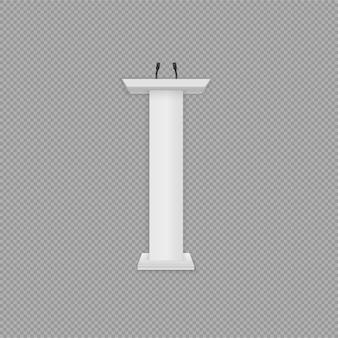 Podio bianco, tribuna con microfoni. illustrazione creativa di una tribuna del podio con microfoni su uno sfondo trasparente. supporti realistici 3d di discorso di presentazione o di conferenza di affari.