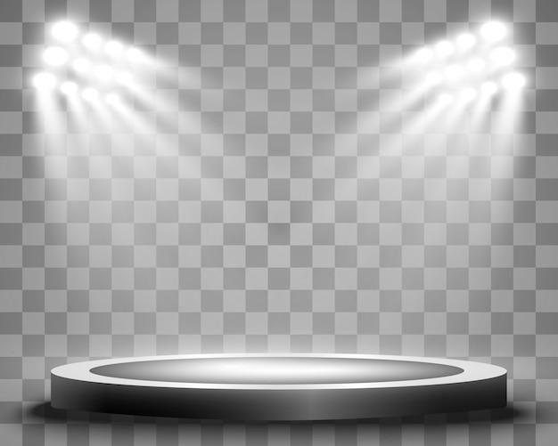 Podio con i riflettori su uno sfondo scuro, primo posto, fama e popolarità. illustrazione. podio realistico illuminato da faretti.