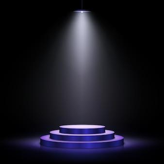Podio con illuminazione. scena con per la cerimonia di premiazione su sfondo scuro. illustrazione.