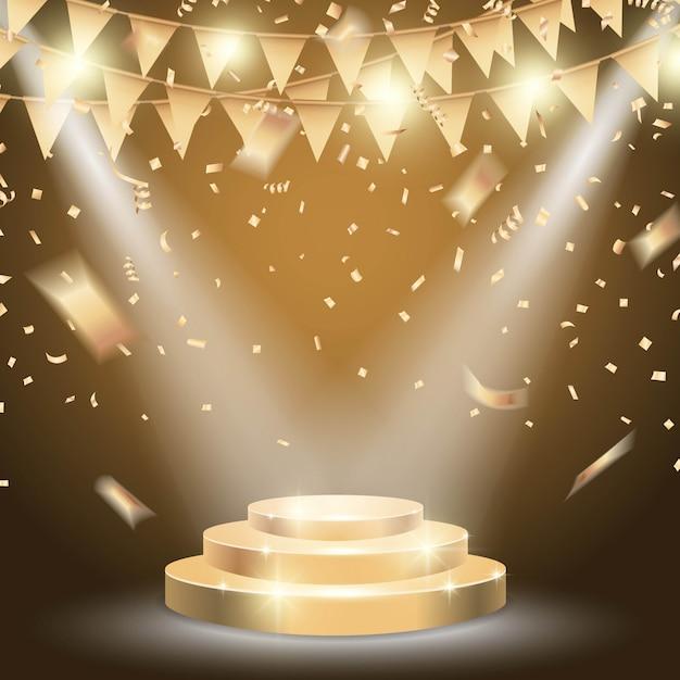 Podio d'oro con brillantemente riflettori sullo sfondo di celebrazione.