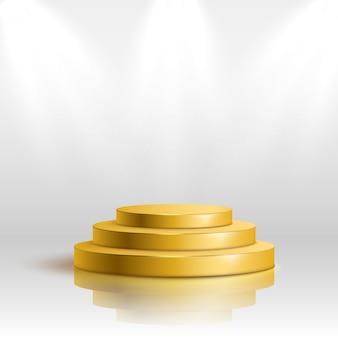 Podio d'oro con illuminazione, scena sul podio di scena con cerimonia di premiazione su sfondo bianco