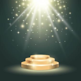 Podio d'oro con luce scintillante su sfondo di celebrazione.