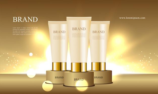 Podio d'oro per tubo di raccolta cosmetici pubblicitari